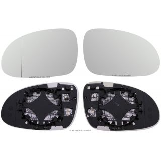 Set Mirror Glass Vw Seat Skoda Heated Chrome Aspheric Convex